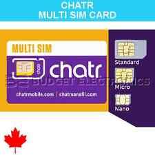 Chatr Multi SIM Card (Nano + Micro + Regular) LTE Prepaid Postpaid Canada