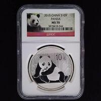 CHINA Panda Silver Coin 10 Yuan 2015, NGC MS70