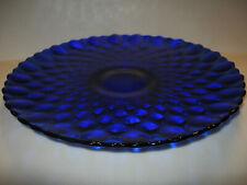 Cobalt Blue art glass cake serving Plate Platter pedestal tray stand desert art