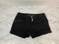 Ariya Jeans Low Rise Womens Short Shorts 9/10 Distressed Raw Hem Black Stretch O