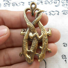 Brass Lucky Triple LIZARD Statue Thai Amulet Love & Luck Talisman Pendant Fetish