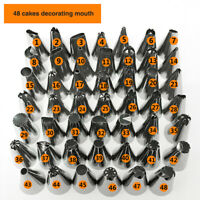 48Pcs Cake Decorating Nozzles Tips Set Pastry Cupcake Sugarcraft Icing Piping