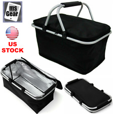 30L Insulated Thermal Bag Large Folding Picnic Basket Cooler Waterproof 18x11x9""