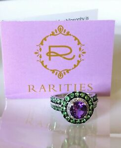 Rarities Carol Brodie Round African Amethyst & Chrome Diopside Halo SS Ring SZ 6