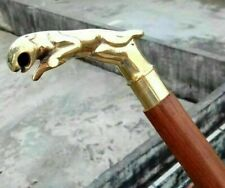 Brass Antique Lion Handle W//Etched Ring Walking Stick Wood Walking Cane A636