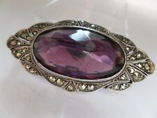 Antique Edwardian, Large Purple Paste and Marcasite Brooch - Signed Sterling.