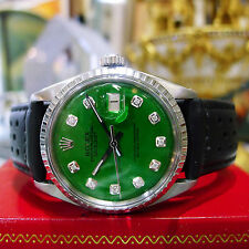 Mens Vintage ROLEX Oyster Perpetual Datejust Steel Green Diamond Dial Watch