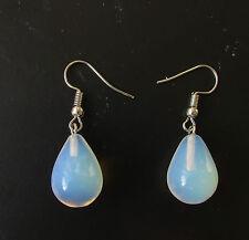White Silver Faux Opal Drop Earrings Opalescent Teardrop Boho Hook Festival 1718
