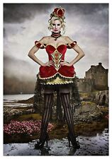 USED DELUXE QUEEN OF HEARTS COSTUME  SIZE MEDIUM (with defect)
