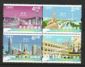 MACAU CHINA 2019 GUANGDONG-HONG KONG-MACAO GREATER BAY AREA BLOCK 4 STAMPS MINT