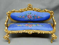 Vintage German Spielwaren Szalasi Blue Needlepoint Sofa Dollhouse Miniature 1:12