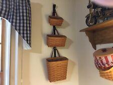 1995 Longaberger Small,medium And Tall Key Basket Set, With Metal Wall Mount