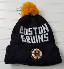 Boston Bruins Hat Knit NHL Black Yellow White By Fan Favorite Tag Pom Pom