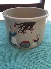 Vintage Robinson Ransbottom Roseville Pottery 1 Qt. Crock Farm Scenery Folk Art