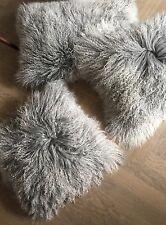 Kissen Tibetlammfell mongolisches Sheepskin Silbergrau beige 30x30cm