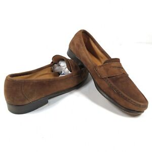 Cole Haan Penny Loafers Dress Shoes Brown Suede Mens 9 M Made in Italy