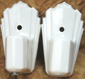 2 antique white porcelain ART DECO style light bulb wall fixtures