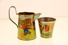 RARE German Tin Childs Toy Pitcher Cup Litho Lithograph Airplane Tea Set Germany