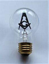 Vintage Aerolux Mason Square & Compass Electric Lamp Bulb w/ Masonic Filament