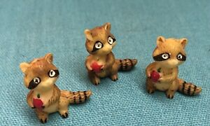 Vintage Miniature Resin Raccoons with Apples