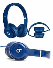 Genuine Beats Solo 2 By Dr Dre Wired On Ear Headband Headphones Headset Blue NEW