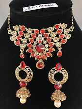 Gold & Red Pearl Choker Style Necklace & Earring set,prom,party RF14-009GLCTRED