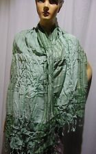Halloween Scarf cotton stripe lycra Weave Handloom Hand Woven Pure cotton green
