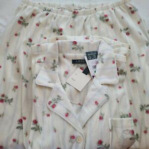 Lauren Ralph Lauren Womens Polyester Notch Collar Two Piece Pajama Set Size PL