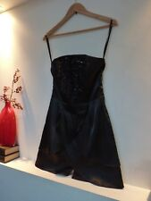 Ladies Lovely QED London Black Satin Sequin Thigh Length Party Dress, 8 Bnwt