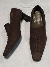 ZOCAL SIZE 35.5 Brown All Leather Shoes Ideal For Work/casual With Heel Italy