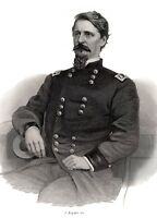 General WINFIELD SCOTT HANCOCK 1866 engraving 3/4 vignette from Brady photo