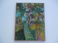 GERALD PAYNE ROWLES PAINTING VINTAGE ABSTRACT CUBIST CUBISM MODERNISM URBAN RARE
