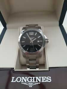 Longines Conquest men's quartz watch (black face) in very good condition boxed