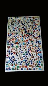 "36"" x 24"" Marble Coffee Table Top Semi Precious Stones Inlay Work Home Decor"