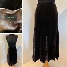 M&S Per Una Brown Silk Blend Crushed Velvet Midi Skirt UK 10 S