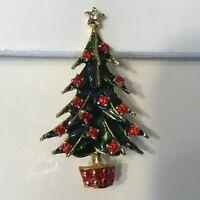 Vintage Goldtone Red & Green Enamel Rhinestone Christmas Tree Brooch Pin