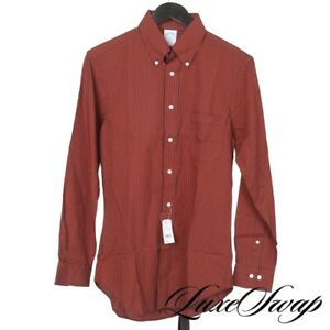 NWT Brooks Brothers Regent Fit Tiger Orange Navy Gingham Plaid Dress Shirt S NR