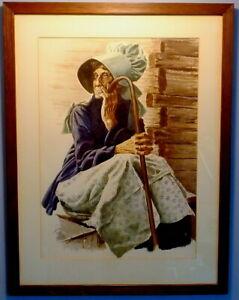 Captivating Watercolor of Appalachian Woman by Columbus P. Knox (1923-1999)