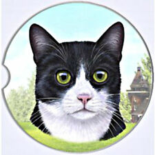BLACK and WHITE Cat Absorbent Car Coaster Stoneware Keep Car Cup Holder Dry