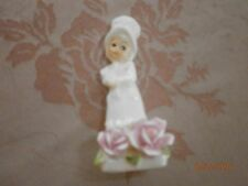 Vintage 1975 Woman Roses By Marluri  Masterpiece Miniature Bone China By Eresco