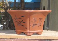 """Hexagon Zisha Etched Bonsai Pot Shohin Dwarf Planter 7.25""""x6.25""""x3.75"""""""