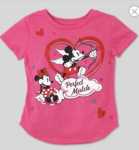 "Nwt Girls Size 12 Month Disney Mickey & Minnie ""perfect Match"" Shirt Valentines"