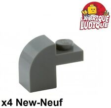 Lego - 4x Brique Brick Modified 1x2x1 x1/3 curved gris f/dark b gray 6091 NEUF