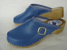 HOLZ (e) CLOGS  Pantolette Gr.35 BLAU, Echt  LEDER (Made in Poland 20-6-5-62/36)