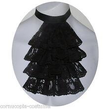 Men black lace jabot/cravat Victorian/Georgian /Regency/Steampunk /Goth costume