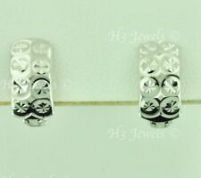18k solid white  gold huggie hoop earring earrings diamond cut 2.50 grams #7059