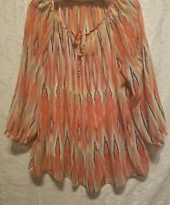One direction women sheer tunic size xL orange multi color print attached cami