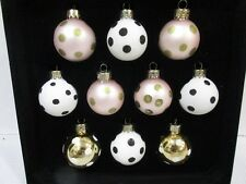 Christmas Shabby Chic MINI Glass Pink Gold Polka Dot Ornaments 1.5 BOX of10