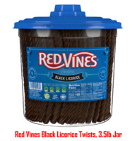 Red Vines Black Licorice Twists, 3.5lb Jar, Fat Free, Kosher, Low Calorie Snack