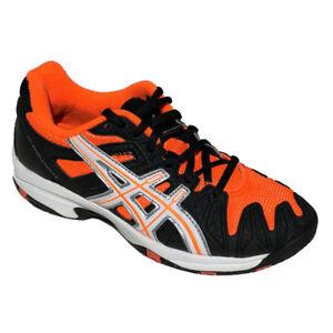ASICS Jugendliche Turnschuhe Schwarz / Neon Orange Gel Resolution 5GS UK13 -